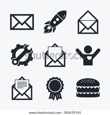 Award achievement, spanner and cog, startup rocket and burger. Mail envelope icons. Message document symbols. Post office letter signs. Flat icons. - stock vector