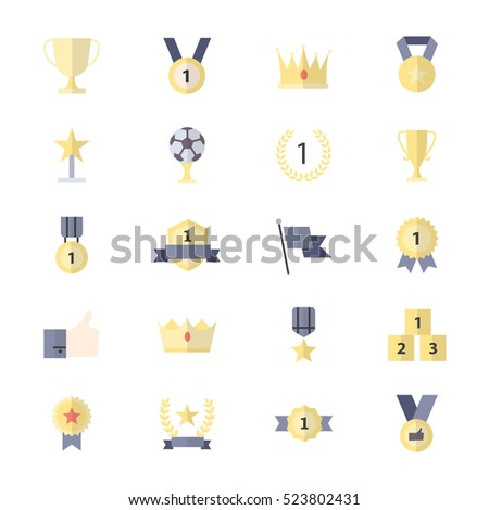 Award and Trophy Icon, Ribbon Best Set Of Winner Sport Abstract Vector Color Icon Style Flat Icons
