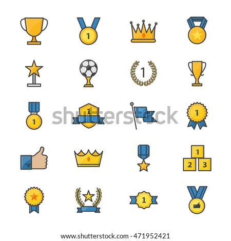 Award and Trophy Ribbon Best Set Of Winner Sport Abstract Vector Color Icon Style Colorful Flat Icons