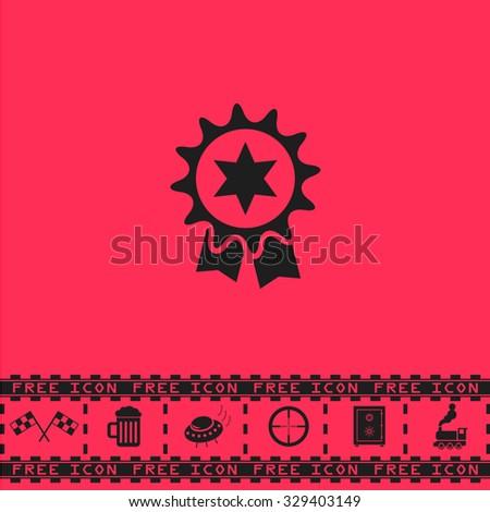 Award. Black flat vector icon and bonus symbol - Racing flag, Beer mug, Ufo fly, Sniper sight, Safe, Train on pink background - stock vector