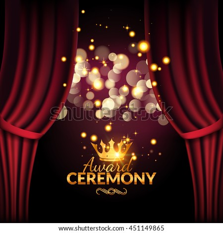 Award ceremony design template. Award event with red curtains. Performance premiere ceremony design. - stock vector