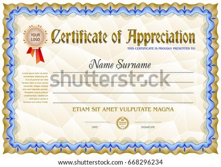 Award Certificate Blank Template Vintage Frame Stock Vector 2018