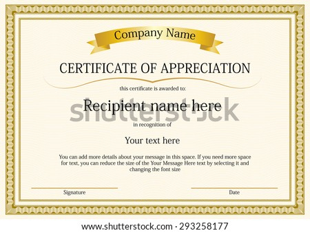 award certificate frame template design vector