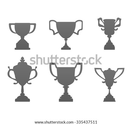 Award Cups and Trophy Icons Set. Vector illustration.