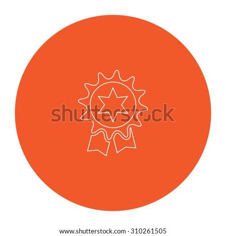 Award. Flat outline white pictogram in the orange circle. Vector illustration icon - stock vector