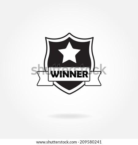 Award icon or sign. Winner shield. Vector illustration. - stock vector
