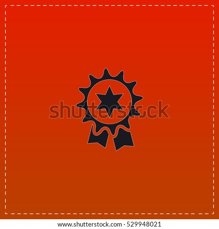 Award Icon Vector. Black flat button on red background