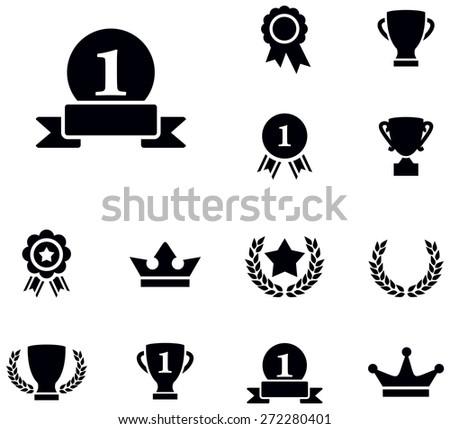 Award icons - stock vector