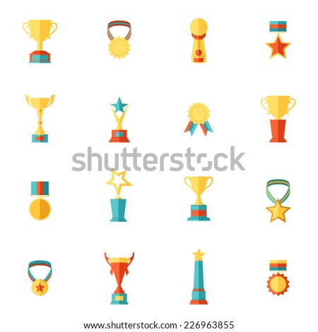 Award icons flat set of trophy medal winner prize champion cup isolated vector illustration - stock vector