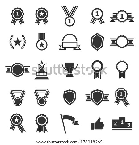 Award icons on white background, vector - stock vector