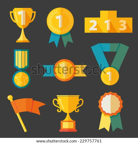 Award icons set vector - stock vector