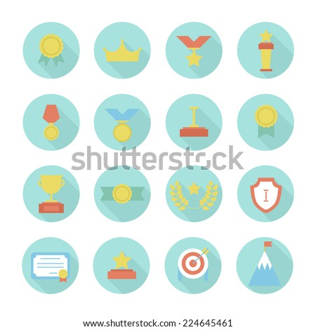 Award icons. Vector set of prizes and trophy signs. Design elements. Illustration in flat style. - stock vector