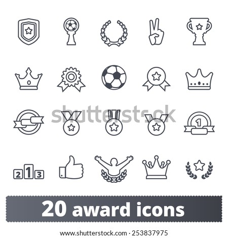 Award icons: vector set of winner prizes and trophy signs. Outline series. - stock vector