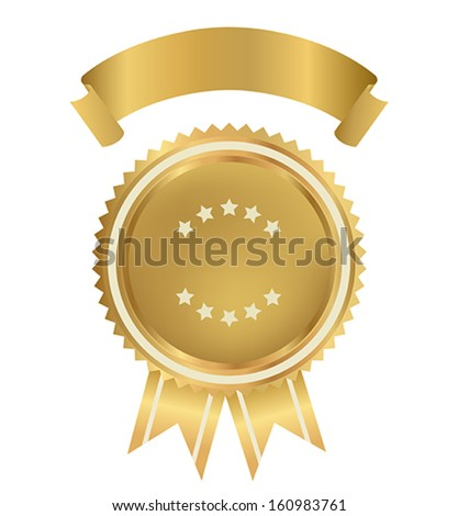 Award, Insignia, Badge for certificate, diploma, web page. Golden medal with gold ribbon (sign of winner). Prize of First. Premium quality, Best price, choice, guarantee, Best seller. Isolated vector - stock vector