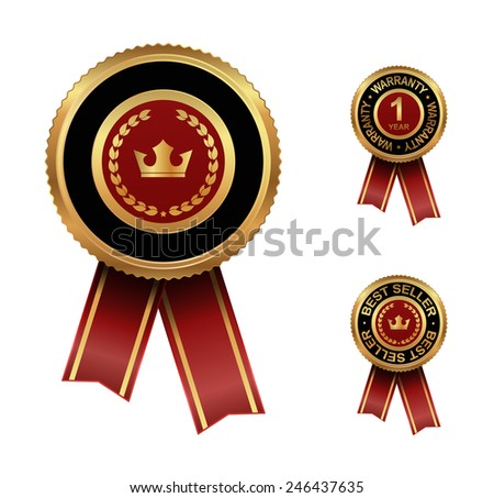 award label with crown design - stock vector