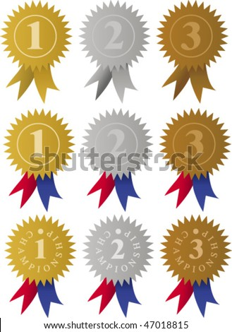 Award Medals Ribbons / Vector - stock vector