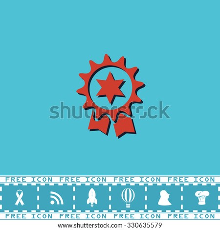 Award. Red flat symbol with dark shadow and bonus icon. Simple vector illustration pictogram on blue background - stock vector