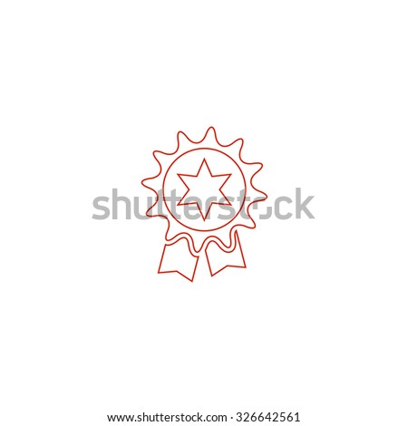 Award. Red outline vector pictogram on white background. Flat simple icon - stock vector