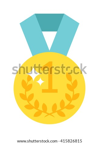 Award ribbon golden first place winner one number medal. Number one medal champion success icon. Leadership pride design element. One number medal gold price label symbol champion badge. - stock vector