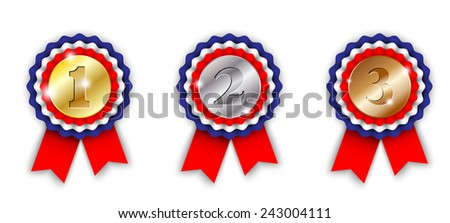award ribbons, 1st, 2nd and 3rd place, on white background, vector illustration, eps 10 with transparency and gradient meshes - stock vector