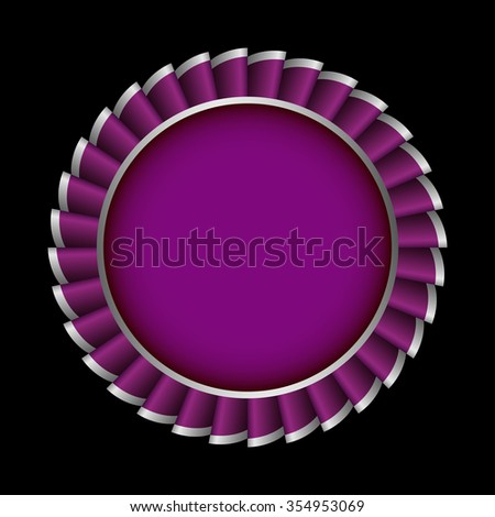 Award Rosette with Ribbon. Vector badge - stock vector