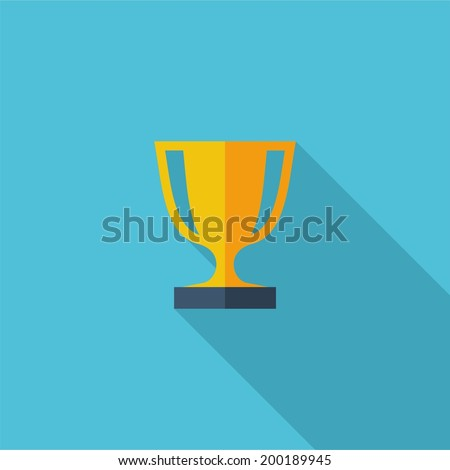 Award symbol. Vector illustration of flat color icon with long shadow.   - stock vector