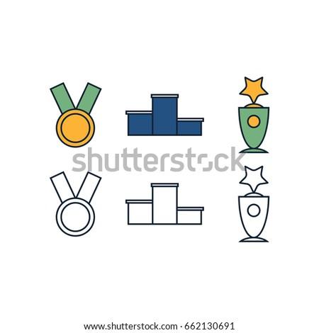Award Symbols Medal Trophy Vector Illustration Stock Vector