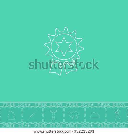 Award. White outline flat symbol and bonus icon. Simple vector illustration pictogram on green background - stock vector