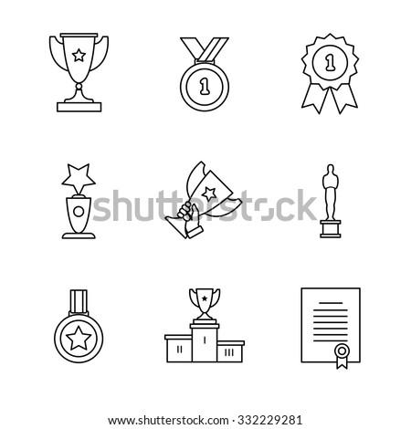 Award winner icons thin line art set. Black vector symbols isolated on white. - stock vector