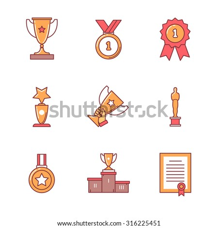 Award winner icons thin line set. Flat style color vector symbols isolated on white. - stock vector