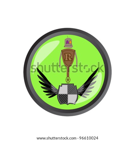 Award winner robot on green button - stock vector