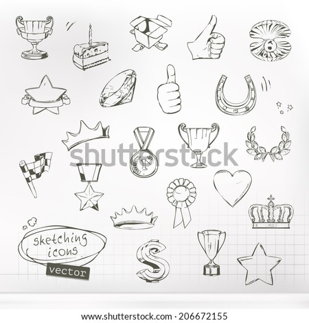 Awards and achievement, sketches of icons vector set - stock vector