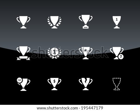 Awards and cup icons on black background. Vector illustration. - stock vector