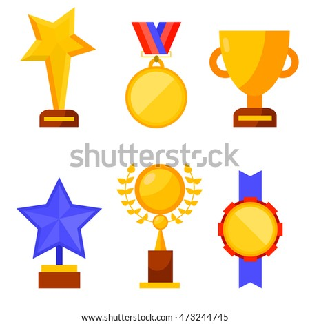 awards and trophy icon set. vector illustration