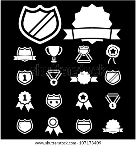 awards & badge icons set, vector - stock vector