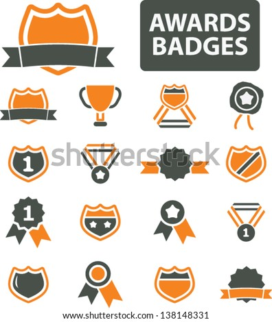 awards, badges, trophy, labels, achievement, victory, icons, signs set, vector - stock vector