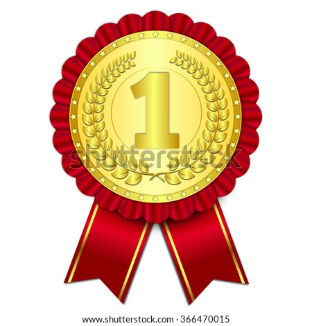 awards gold medal quality mark vector illustration