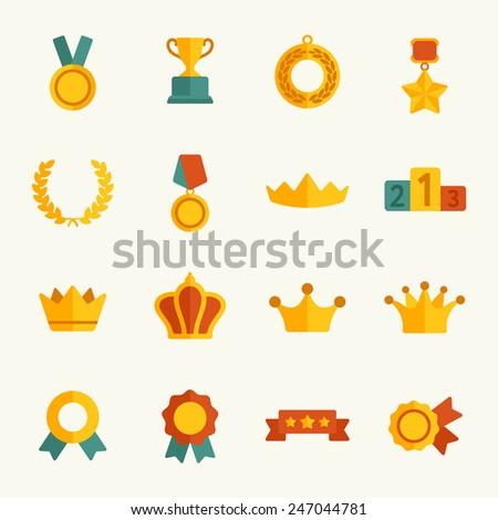 Awards icon set - stock vector
