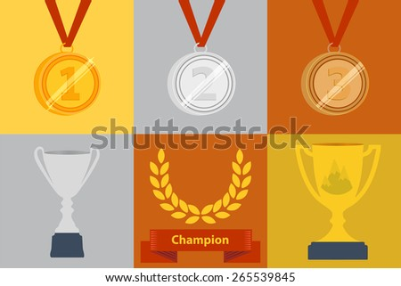 Awards icon set with six different icons depicting a gold and silver trophy, gold, silver and bronze medallions and a wreath over a banner for winners of a competition or championship - stock vector