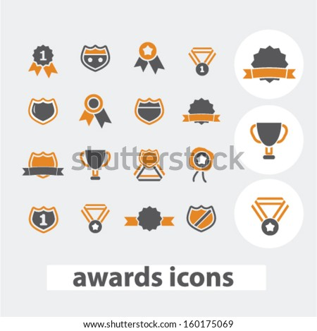 awards icons set, vector - stock vector
