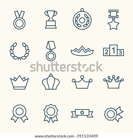 Awards line icons - stock vector