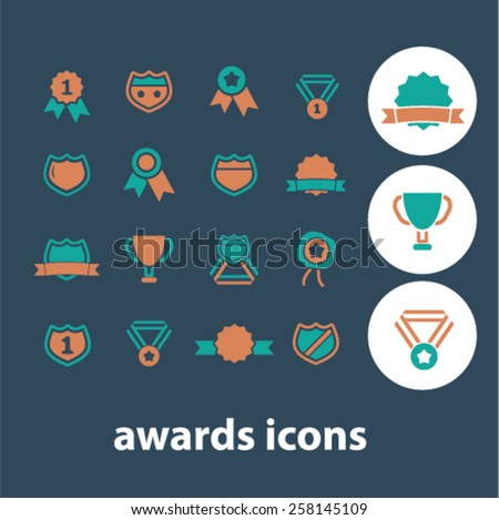 awards, medal, trophy, achievement isolated icons, signs, illustrations design concept set for web, internet, application, vector - stock vector