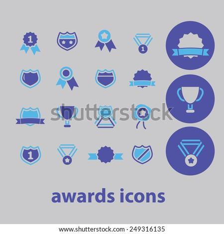 awards, shield, winner, victory, emblem icons, signs, illustrations set, vector - stock vector