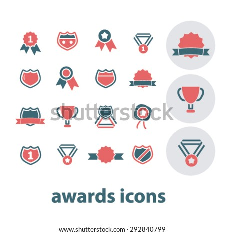 awards, trophy isolated vector icons - stock vector