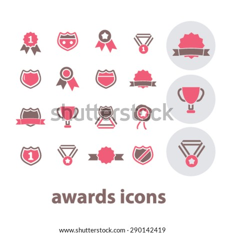awards, victory, trophy, emblem isolated icons, signs, illustrations, vector for internet, website, mobile application on white background - stock vector