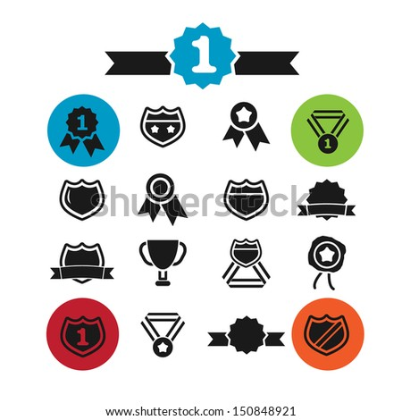 awards, victory, winner icons, signs set, vector - stock vector