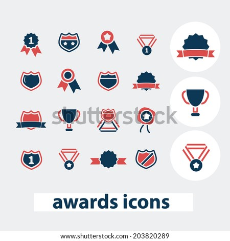 awards, victory, winnter, emblem icons, signs, symbols, vector set - stock vector