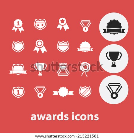 awards, winner, competition isolated icons, signs, symbols, illustrations, silhouettes, vectors set - stock vector