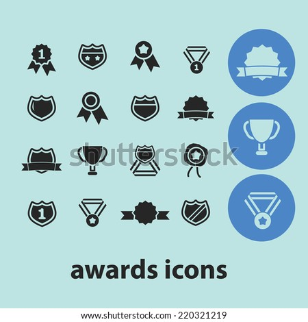awards, winners, labels, icons, signs, illustrations, silhouettes set, vector on blue background - stock vector