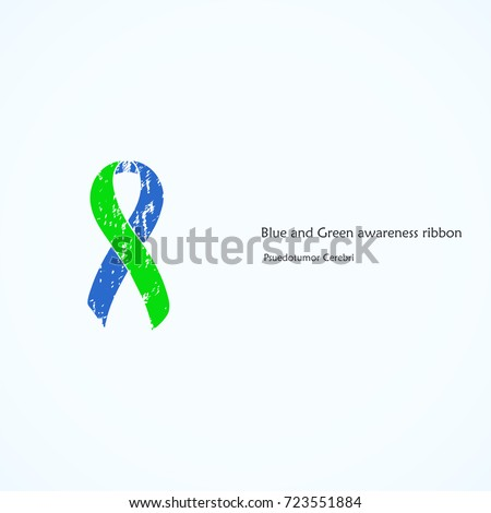 Awareness blue green ribbon painted pseudo stock vector royalty awareness blue and green ribbon painted pseudo tumor cerebri isolated icon list ccuart Gallery